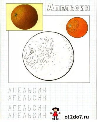 Прописи по клеточкам. Фрукты