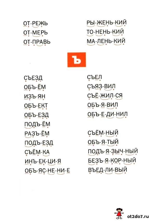 Читаем слова с Ъ и Ь знаками
