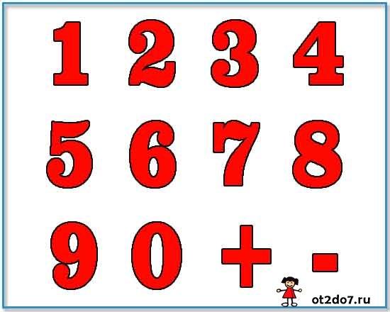 Шаблоны цифр и математических знаков