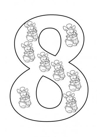 Цифры с зайцами. Шаблоны цифр