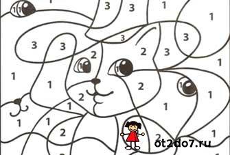 Раскраски по цифрам от 1 до 4