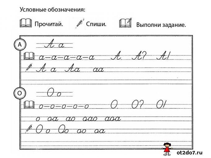Рукописные буквы А и О