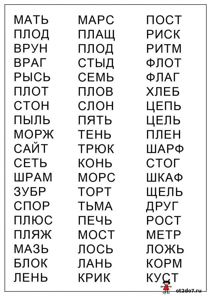 Слова из 4 букв и 1 или 2 слога