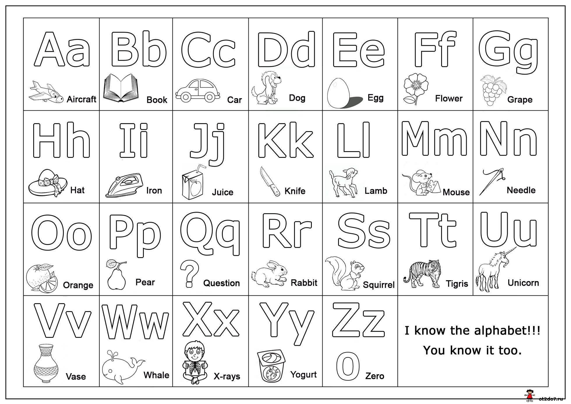 Черно белые картинки английского алфавита