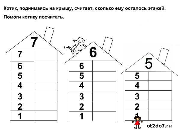 Домики. Состав чисел первого десятка