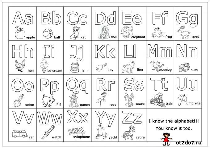 Английский алфавит. Плакат для скачивания