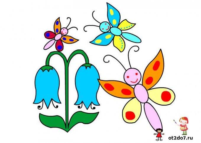 Рисуем бабочку и цветок