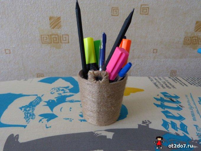 Стаканчик для ручек и карандашей своими руками