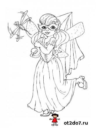 Маленькая волшебница и ее наряды. Раскраски для девочек