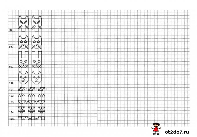 105 рисунков по клеткам