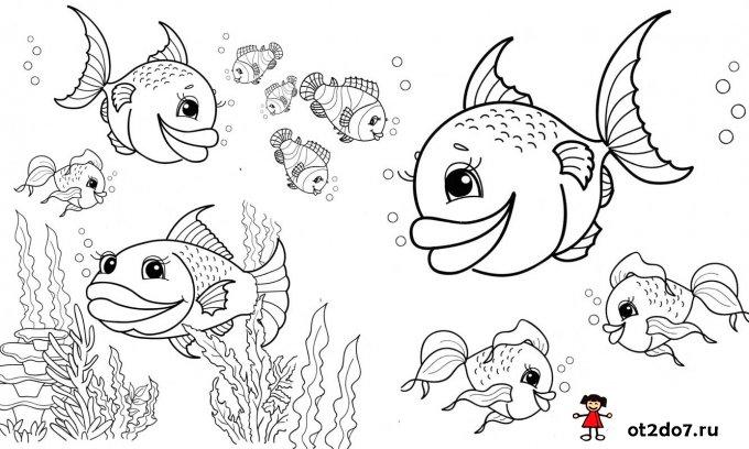 Раскраски и стихи про рыбу и рыбалку
